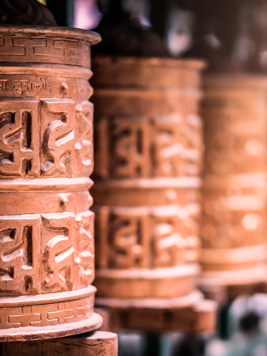 Closed up the prayer wheel at temple
