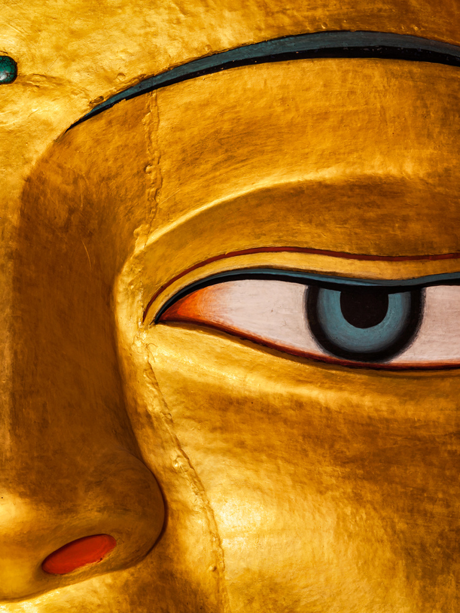Sakyamuni Buddha statue face close up